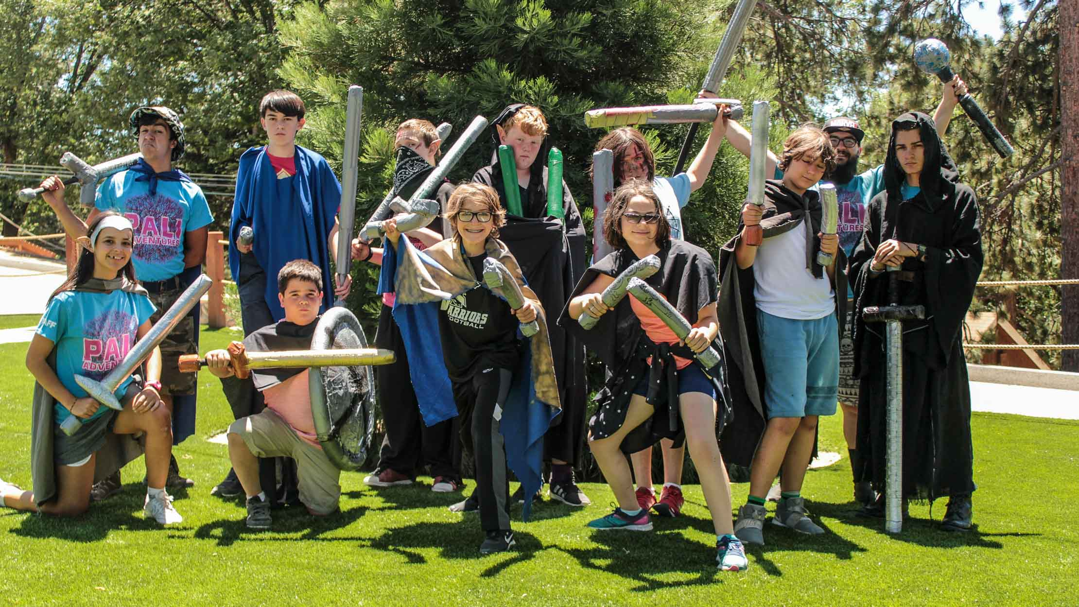 Group of campers LARPing