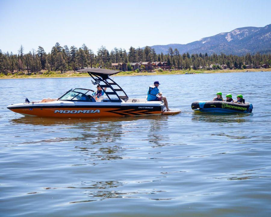 Watertubers taking a break on the lake